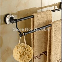 Wholesale New Arrive Oil Rubbed Bronze Double Pole Towel Rack Wall Mounted Dual Rod Bath Towel Bar