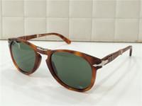achat en gros de designer italien lunettes de soleil marques-Nouveau lunettes de soleil persol pe714 lentilles en verre de conception pliante UV400 cadre pilote italien de concepteur avec des hommes cas originaux designer de la marque