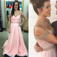Wholesale Fashion Off the Shoulder Prom Dresses with Beads New Pink A Line Chiffon with Crystal Belt Pleated K17 Couples Fashion Evening Gowns