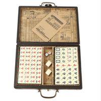 Wholesale Portable Retro Mahjong Box Rare Chinese Mah Jong Set Bamboo Piece With Box for family fun activities among friends