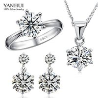 Wholesale Big Promotion Fashion Sterling Silver Jewelry Sets Luxury CZ Diamond Necklace Earrings Ring Wedding Jewelry Sets JZR010