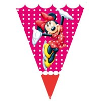 Wholesale Pennants cartoon minnie Mouse gilr Happy birthday Paper Flags party Bunting Banner for kids Birthday party Decoration Supplies