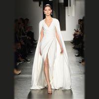 arabic shawl - Faisata Arabic Split Evening Dresses White Ivory Cowl Back Shawl Wrap Plus Size Pamella Roland Runway Formal Prom Celebrity Gowns Prom Dress