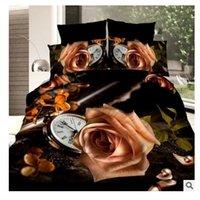 al por mayor rosas amarillas ropa de cama-Funda de edredón de edredón de edredón de cama de 3D Rose amarilla establece la cama en una hoja de saco de ropa de cama de lino tamaño completo de la reina de flores de rosas tienda 4PCS