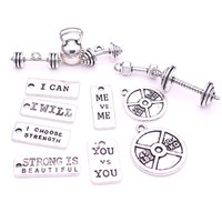 barbell plate - 26pcs strength tags Kettle bell dumbbell barbell weight mix charms Sport charm Fit DIY Fitness Necklace Jewelry Making H3010