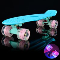 Wholesale Hot selling inch Skateboard Mini Cruiser Board quot Retro Skate Board Complete with Led Light up Wheels