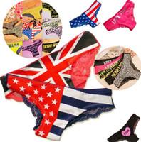 Wholesale Newest Fashion flag detonation model The American flag lace panties sexy women s underwear girls panties