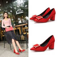 Wholesale Side buckle decoration red wedding shoes bride wedding shoes pointed shoes high heel thick with shallow mouth sets heel high cm