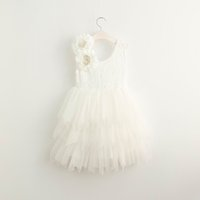 Robe en robe tutu en dentelle France-2017 été nouvelle fille robe de dentelle princesse Gilet Princesse Vest Robe Girl Party Sundress Couche Dresses Enfants