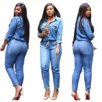 big overalls - 2017 spring New Fashion Women Long Sleeve Jeans Jumpsuit Handsome Deep V With Botton Rompers Full length Overalls Lady big Size