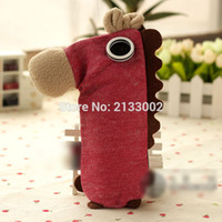 Wholesale 4 Color Creative Cute Coconut Colt Pony Horse Pencil Case Large Capacity Stationery Canvas Pencil Bag With Roap