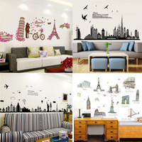 Wholesale Mixed order Places of Interest cartoon wall stickers home decor world s famous building wall decal stickers kids room wall paper