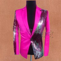 Wholesale Free ship mens stage performance hot pink yellow sequined tuxedo jacket only jacket