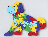 Wholesale New wooden toy Animal Dinosaur piece English letters and digital cognitive Wooden Jigsaw Puzzle