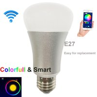 Wholesale 7W E27 Wi Fi Smart LED Bulb RGBW Multi colored dimmable wlan led light bulb controlled by IOS Android APP