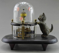Wholesale China Collectible Decorated Old Copper Carved Cat Fish Mechanical Table Clock RC