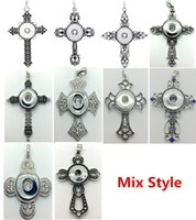 Wholesale Mix Style Cross Snap Charm Pendant Necklace Interchangeable mm Ginger Snap Chunk Charm jewelry With cm Metal Chain