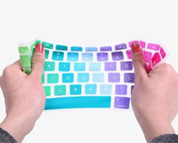 Wholesale Soft Silicone Rainbow keyboard Case Protector Cover Skin For MacBook Pro Air Retina Waterproof Dustproof US Ver OEM