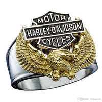 american eagles - Hot European and American retro titanium steel HD style motor stainless steel ring eagle motorcycles finger ring