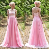 Wholesale 2017 Pink Blush Cheap Beach Bridesmaid Dresses Junior New Country Sweep Train Sweetheat Lace Ribbon Party Long Wedding Gown Vestido De Festa