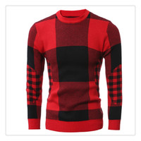 big o computer - Sweaters for Men Autumn winter Fashion O neck Big Lattice Mens Casual Long Sleeves Thicken Sweaters US Size XS L