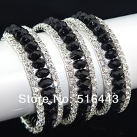 Compra Cristales checo pulseras-Las pulseras esqueléticas de los brazaletes de los encantos de las mujeres Rhinestones checas cristalinas negras de 12pcs 3rows venden al por mayor la joyería A-700 de la manera