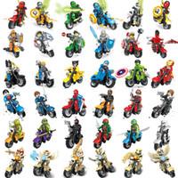 Wholesale 108pcs Mix Order Minifigures with Motorcycle Teenage Ninja Turtles Super Heroes Nexo Knights Ninjago Chima Minifigure Building Blocks Toy
