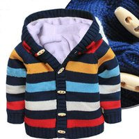 Wholesale Boy Girl Sweater Coat Add Plush Cotton High Quality Sweaters Outwear Clothes Coat Children Winter Warm Sweaters With Hooded