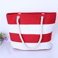 Wholesale Special big Stripe shoulder handbags shopping bag beach handbag new fashion canvas bag wild rough twine striped beach bag