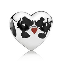 angels kiss - Authentic Sterling Silver Bead Charm Enamel Love Heart Cartoon Mouse Kiss Beads Fit Women Pandora Bracelet Bangle Jewelry HKA3439
