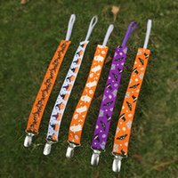 Wholesale Halloween Pacifier Clip Holder Blanks Polyester Ribbon Kids Pacifier Chain Cartoon Holder Clip in Colors DOM106402