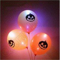Wholesale New Fashion Halloween Party LED Latex Ballons Flashing Blingbling Wedding Decoration Party pumpkin Ballons CCA4758
