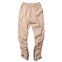 apricot jeans - Hi Street Mens Joggers Pants Apricot Side Zipper Trousers Hip Hop Mens Casual Pencil Jeans P2008