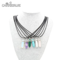 agate gem stone - Semi precious Crystal Necklace Natural Quartz Amethyst Turquoise Agate Chakra Gem Stone Wax cord Pendant Necklaces For Women XL11