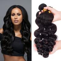 7A Peruvian Hair Bundles Loose Wave Virgin Extensions Cheveux Remy 8-28inch Weave Extensions de cheveux humains 3Pcs / Lot Natural Black peut être teint