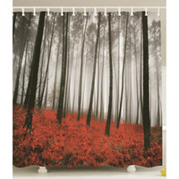 Wholesale Mystic Forest Trees Red Grass Modern Art Foggy Scene Print Fabric Shower Curtain