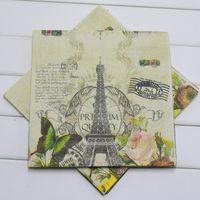 Precio de Torre eiffel al por mayor del partido-Venta al por mayor- mariposa Torre Eiffel impresa papel servilleta de cumpleaños fiesta / baby shower / decoración de la boda suministros Serviette Tissue Decoupage