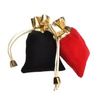 beaded pouches - 2016 hot sell Colors sizes Velvet Beaded Drawstring Pouches Jewelry Packaging Christmas Wedding Gift Bags Black Red JF