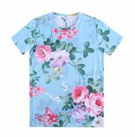 [Mikeal] LY1981 Nouveau T-shirt femmes / hommes 3d belle Peony fleur imprimé t shirt Top Tees dessin animé T-shirt bleu clair A25