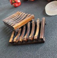 Wholesale 100pcs lotVintage Wooden Soap Dish Plate Tray Holder Box Case Shower Hand washing