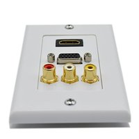 audio wall plate - 50pcs HDMI VGA RCA AV Wall Plate Composite Video Audio Adapter Jack Outlet HDTV pABS
