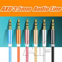 al por mayor aux oro cable de audio-1M macho a macho 3.5mm universal enchapado en oro cable estéreo de audio auxiliar jack auxiliar de cable a dispositivo de gato