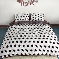 al por mayor colcha cubierta blanca de la reina-Venta al por mayor-Negro y blanco de actividad de impresión Juegos de cama Super King Queen, Star edredón edredón conjunto de la cubierta, Dormitorio ropa de cama, textiles # ZY15