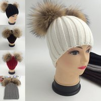 big fluffy hats - 5Pcs Winter Beanie Hat With Big Fluffy Fur Double Fur Ball Wool Knitted Ski Cap Warm Thick Hats For Women Girls Apparel Accessories