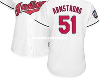 armstrong blue - 2016 world series indians armstrong baseball Jersey with series patch white blue gray