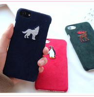 Wholesale 2017 newest back embroidery Concise iphone leather case fashion for phone plus case cover Animal motifs penguin wolf sika deer