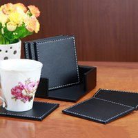 Wholesale Price New Arrival Double Deck Black Leather Placemat Coasters of Cup Mat Pad PU Leather For Home Decoration