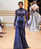 Cheap Zuhair Murad Dark Navy High Neck Lace Formal Evening Dresses See-though Long Sleeves Beaded Appliques Custom Prom Celebrity Gowns