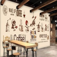 Wholesale D Stereo Hand Painted Coffee Shop Backdrop Custom Living Room Restaurant Living Room Lobby Mural Wallpaper