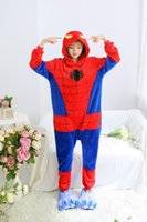adult spiderman pyjamas - Fashion Creative Autumn and Winter Flannel Unisex Adult Warm Spiderman Onesie Elephant Pyjamas Sleepwear Kigurumi Cosplay Dress